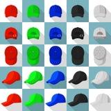Iconos fijados, estilo plano de las opiniones de la gorra de béisbol Foto de archivo libre de regalías