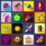 Iconos fijados, estilo plano de los artículos del espacio ilustración del vector