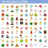 100 iconos fijados, estilo plano de los días de fiesta stock de ilustración