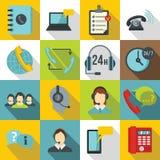 Iconos fijados, estilo plano de los símbolos del centro de atención telefónica libre illustration