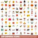 100 iconos fijados, estilo plano del carnaval ilustración del vector