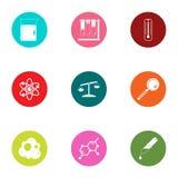 Iconos fijados, estilo plano del compuesto químico ilustración del vector