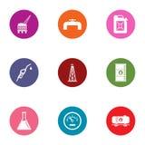 Iconos fijados, estilo plano del compuesto químico stock de ilustración