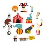 Iconos fijados, estilo plano del entretenimiento del circo Fotografía de archivo libre de regalías