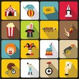 Iconos fijados, estilo plano del entretenimiento del circo Imágenes de archivo libres de regalías