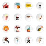 Iconos fijados, estilo plano del entretenimiento del circo Imagen de archivo