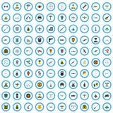 100 iconos fijados, estilo plano del oficial libre illustration