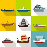 Iconos fijados, estilo plano del transporte de océano Imágenes de archivo libres de regalías