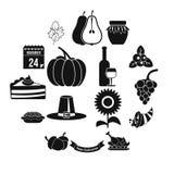 Iconos fijados, estilo simple de la acción de gracias Fotos de archivo libres de regalías