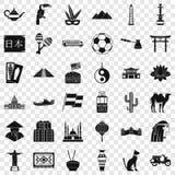 Iconos fijados, estilo simple de la cultura del mundo libre illustration