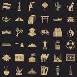 Iconos fijados, estilo simple de la cultura del mundo stock de ilustración
