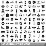 100 iconos fijados, estilo simple de la cultura joven libre illustration