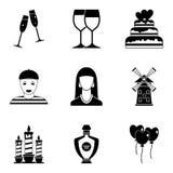 Iconos fijados, estilo simple de la dedicación stock de ilustración