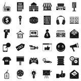 Iconos fijados, estilo simple de la mercancía stock de ilustración