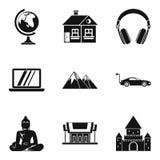 Iconos fijados, estilo simple de la nación de la cultura libre illustration