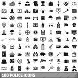100 iconos fijados, estilo simple de la policía Imagen de archivo