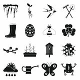 Iconos fijados, estilo simple de la primavera Fotos de archivo