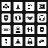 Iconos fijados, estilo simple de la protección individual ilustración del vector