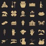 Iconos fijados, estilo simple de la viga ilustración del vector