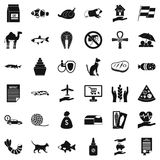 Iconos fijados, estilo simple de un gato stock de ilustración