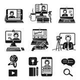 Iconos fijados, estilo simple de Webinar stock de ilustración