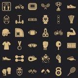 Iconos fijados, estilo simple del atleta ilustración del vector