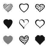 Iconos fijados, estilo simple del corazón ilustración del vector