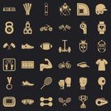 Iconos fijados, estilo simple del deporte ilustración del vector