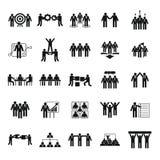 Iconos fijados, estilo simple del entrenamiento de la formación de equipo Fotos de archivo libres de regalías