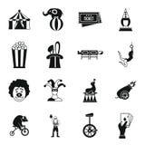 Iconos fijados, estilo simple del entretenimiento del circo Imágenes de archivo libres de regalías