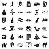 Iconos fijados, estilo simple del gato ilustración del vector