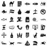 Iconos fijados, estilo simple del gato nacional ilustración del vector
