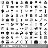 100 iconos fijados, estilo simple del kettlebell Imágenes de archivo libres de regalías
