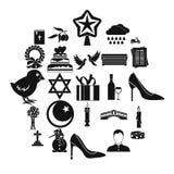 Iconos fijados, estilo simple del servicio divino ilustración del vector