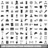 100 iconos fijados, estilo simple del trabajador de construcción libre illustration