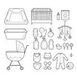 Iconos fijados, iconos del bebé del esquema Fotografía de archivo libre de regalías