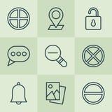 Iconos fijados La colección de desbloquea, burbuja del mensaje Fotografía de archivo