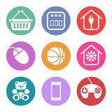 Iconos fijados para las secciones del supermercado ilustración del vector