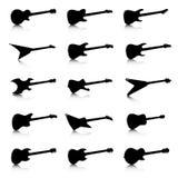 Iconos fijados, quince diversos modelos de la guitarra Fotos de archivo
