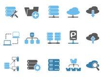 Iconos fijados, serie azul del host web stock de ilustración