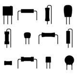 Iconos fijados, silueta de los componentes electrónicos Fotografía de archivo