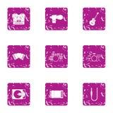 Iconos filarmónicos fijados, estilo del grunge Fotos de archivo libres de regalías