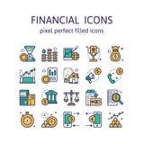 ICONOS FINANCIEROS: Iconos del esquema, pictograma y colección llenados del símbolo ilustración del vector
