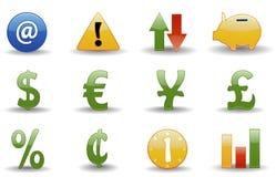 Iconos financieros | Serie brillante Imagen de archivo