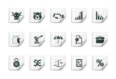 Iconos financieros |Serie pegajosa ilustración del vector