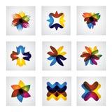 Iconos florales o de la flor abstractos del elemento del diseño del vector Fotografía de archivo libre de regalías