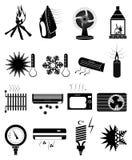 Iconos fríos calientes de la temperatura fijados Foto de archivo libre de regalías