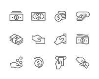 Iconos frotados ligeramente del dinero fijados.