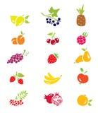 Iconos - frutas y bayas Foto de archivo libre de regalías