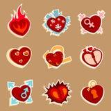 Iconos funy del corazón ilustración del vector